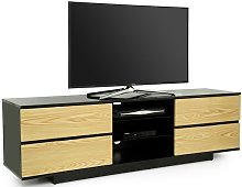 Boone TV Stand In Black High Gloss With Oak Gloss