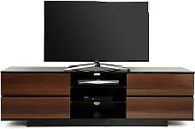 Boone TV Stand In Black High Gloss With Walnut