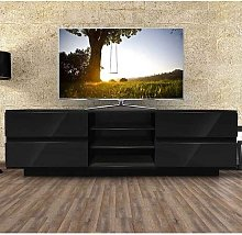 Boone Wooden TV Stand In Black High Gloss With