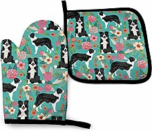Border Collie Florals Oven Mitts and Pot