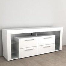 Borealis Hi-Fi Lowboard TV Unit In High Gloss White