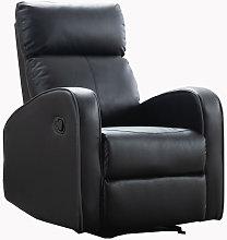 Boston Black Leather 1 Seater Recliner Sofa