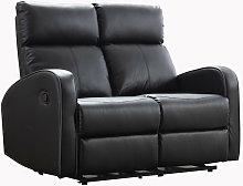 Boston Black Leather 2 Seater Recliner Sofa