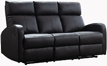 Boston Brown Leather 3 Seater Recliner Sofa