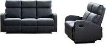 Boston Grey Leather 3+2 Seater Recliner Sofa Set