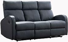 Boston Grey Leather 3 Seater Recliner Sofa