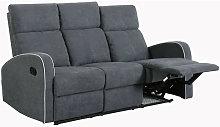 Boston Slate Grey Fabric 3 Seater Recliner Sofa