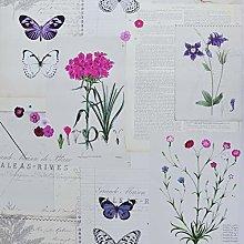 Botanic Newspaper Wallpaper Floral Violet