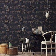 Boutique Midnight Navy Animal Safari Wallpaper