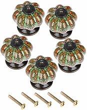 bowarepro 5Pcs Ceramic Vintage Pumpkin Door knobs