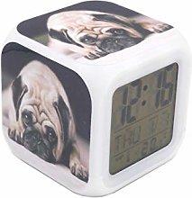 """BoWay 3""""Desk & Shelf Clock Dolorous Pug Dog Pup"""