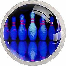 Bowling Ball Blue 4 Pieces Crystal Glass Wardrobe