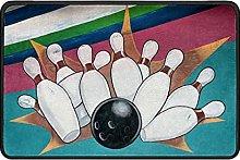 Bowling Ball Doormat Rug Easy to Clean Non Slip