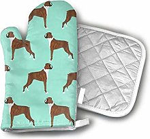 Boxer Dog Oven Mitts and Pot Holders Sets Heat
