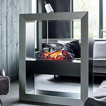 Boxx Hybrid Fireplace in Black and Grey