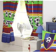 Boys Football Stripes Fully Lined Bedroom Curtains