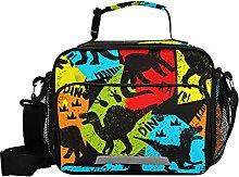 Boys Vintage Dinosaur On Dark Background Lunch Bag