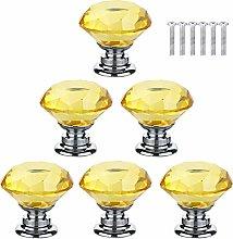 BOZONLI 6pcs 30mm Yellow Crystals Glass Drawer