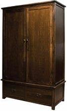 Bozz Antique Wood Bedroom Wardrobe 2 Door 2 Drawer