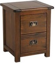 Bozz Small Dark Antique Softwood Bedside Table