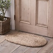 Braided Jute Oval Doormat , Natural, One Size