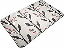 Branches With Leaves And Berries Bath Mat