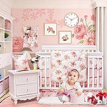 Brandream Luxurious Blush Pink Floral Crib Bedding