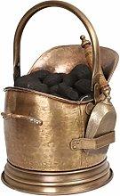 Brass Coal Scuttle Fireplace Hod Bucket & Wood