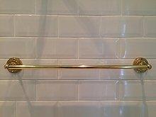 Brass Embossed Base 600mm Single Bath Towel Rail