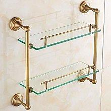 Brass Glass Shelf Bathroom Bathtub Caddy Basket