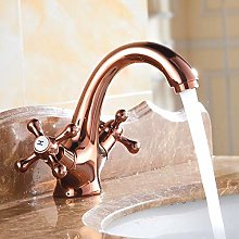 Brass Gold Finishing Basin Faucet Hot and Cold