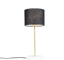 Brass table lamp with black shade 20 cm - Kaso