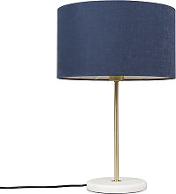 Brass table lamp with blue shade 35 cm - Kaso