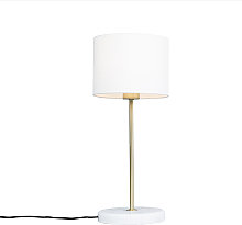 Brass table lamp with white shade 20 cm - Kaso