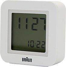 Braun Quartz Alarm Clock, White, 5,6 x 5,6x 2 cm