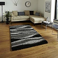 Bravich Medium Grey and Black Wave Pattern Stripes
