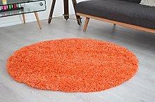 Bravich Orange Circle Round Shaggy Rug Large Shag
