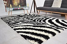 BRAVICH RugMasters Black and Ivory Zebra Pattern