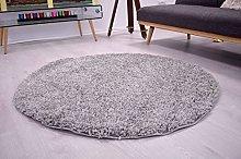 Bravich Silver Grey Circle Round Shaggy Rug Large