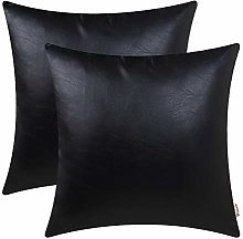 BRAWARM Pack of 2 Cozy Black Faux Leather Cushion