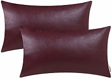 BRAWARM Pack of 2 Cozy Burgundy Faux Leather