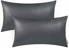 BRAWARM Pack of 2 Cozy Charcoal Gray Faux Leather