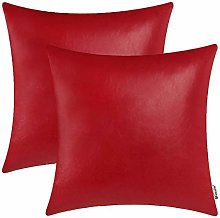 BRAWARM Pack of 2 Cozy Christmas Red Faux Leather