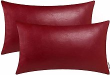 BRAWARM Pack of 2 Cozy Deep Red Faux Leather