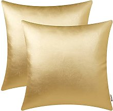 BRAWARM Pack of 2 Cozy Gold Faux Leather Cushion