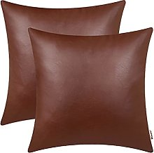 BRAWARM Pack of 2 Cozy Light Brown Faux Leather