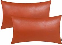 BRAWARM Pack of 2 Cozy Orange Rust Faux Leather
