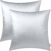 BRAWARM Pack of 2 Cozy Silver Faux Leather Cushion