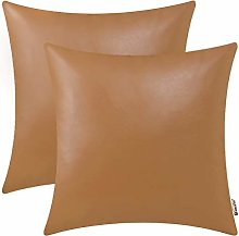 BRAWARM Pack of 2 Cozy Tan Faux Leather Cushion