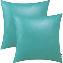 BRAWARM Pack of 2 Cozy Teal Faux Leather Cushion